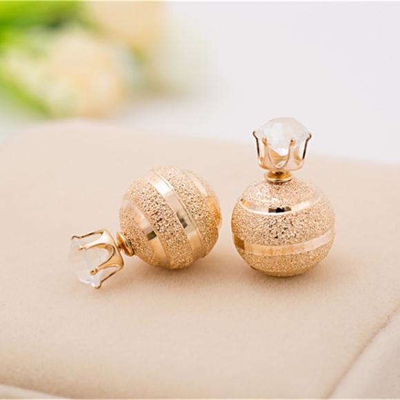 6aa8d5753 Jewelry | Double Sided Gold Sparkle Ball Stud Earrings | Poshmark